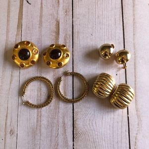 4 sets of vintage to modern gold tone earrings